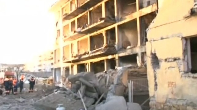 Blast caused huge damage to the residential building used by the police officers and their families