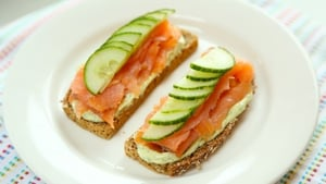Open Face Salmon Sandwich and Dill Mayo