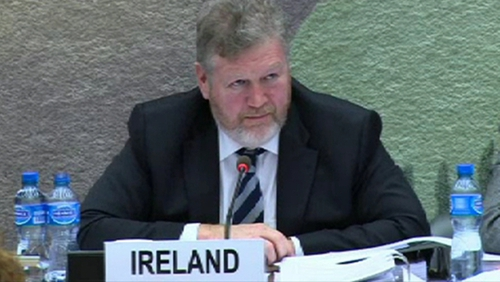 Minister for Children and Youth Affairs James Reilly is being questioned by a UN panel in Geneva today