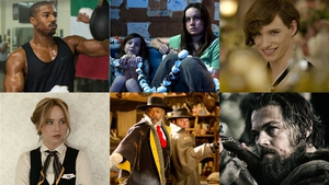 Clockwise from top left: Creed, Room, The Danish Girl, The Revenant, The Hateful Eight, Joy