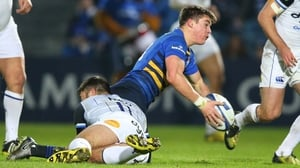 Leinster's Garry Ringrose is challenege by Matt Banahan of Bath at the RDS