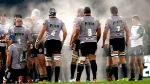Steam rises from the Brive pack on a cold night in France against Connacht