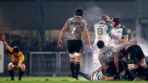 Connacht players react as the referee awards a late penalty