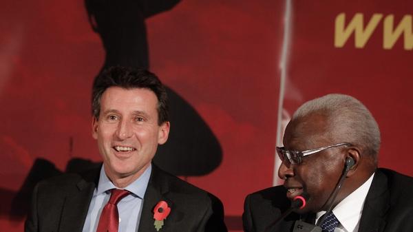 Sebastian Coe and then-IAAF president Lamine Diack at the 2011 announcement of the successful bid