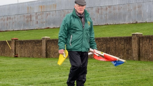 Groundsman Terry Kelly prepares the pitch ahead of Louth vs Meath