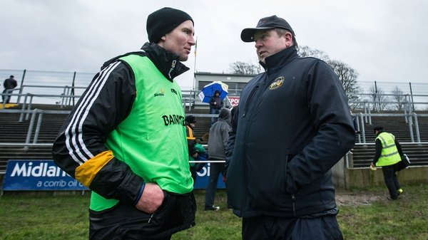 Cats Walsh Cup boss Eddie Brennan chats with Offaly manager Eamonn Kelly after their sides' match in Birr