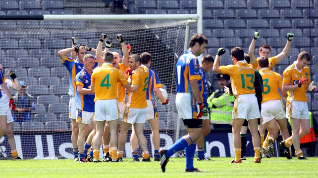 Antrim players celebrate their win over Wicklow in the 2008 Tommy Murphy Cup final