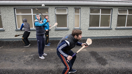 Kilkenny players have a puck around prior to the game to Offaly