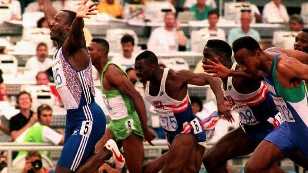 Linford Christie en route to winning gold at the Barcelona Olympics in 1992