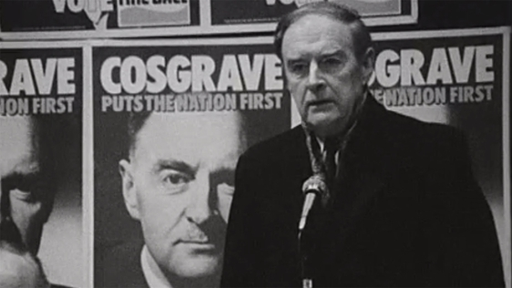 Liam Cosgrave addressing a party meeting.