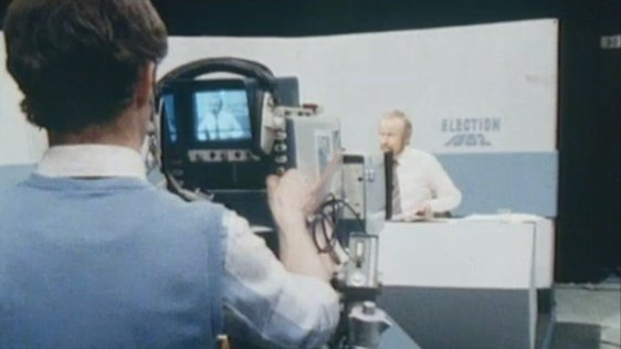 Camera man working in the Election '82 studio.