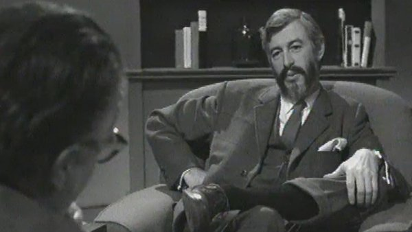 JP Donleavy, pictured in 1971 talking to Niall Sheridan for the RTÉ programme 'Writer in Profile'.