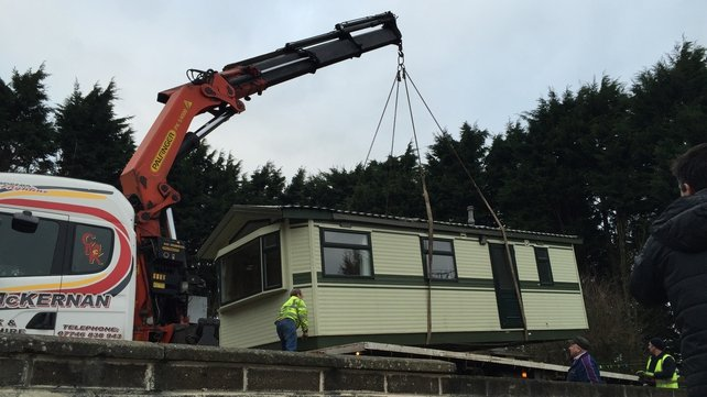 One of the last traveller homes to be removed from the halting site