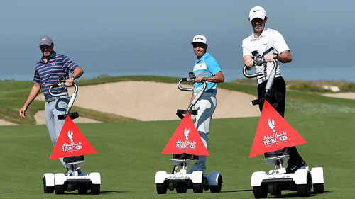 Rory McIlroy (r), Rickie Fowler and Jordan Spieth pictured at the Rider Cup Desert Challenge