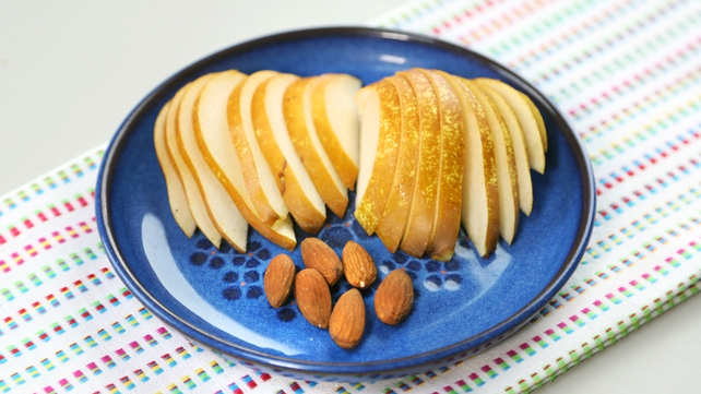 The pear and nuts option - protein and fructose combo