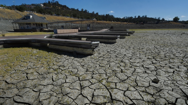Boat docks sit empty on dry land, at Folsom Lake reservoir near Sacramento in California