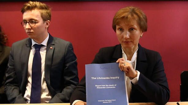 Marina Litvinenko and her son Antoly at the publication of the inquiry report