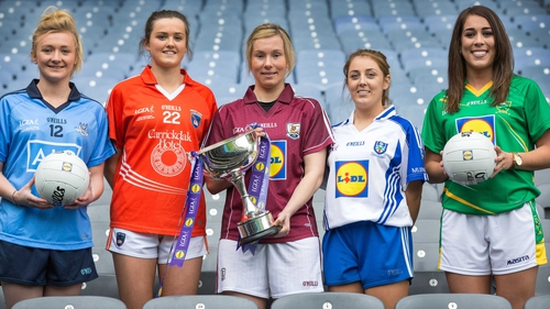 Pictured (L-R) at the LGFA National Football League Launch are Carla Rowe, Aimee Mackin, Tracy Leonard, Aoife McAnespie and Aislinn Desmond