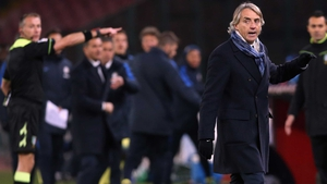 Roberto Mancini leaces the field during the heated cup clash with Napoli