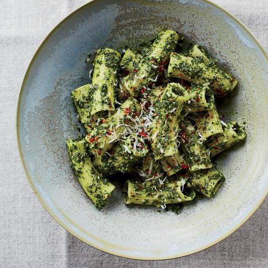 Speedy Suppers  Kale & Pecorino Pesto Pasta