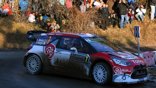 Kris Meeke and Paul Nagle in their Abu Dhabi Total WRT Citroen DS3 WRC