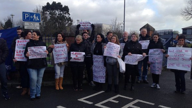 Protesters gathering outside Louth County Council offices in Dundalk