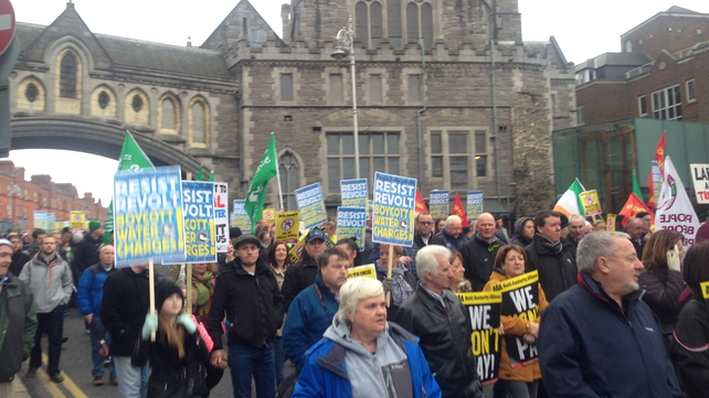 Protesters made their way towards Dublin's O'Connell Street