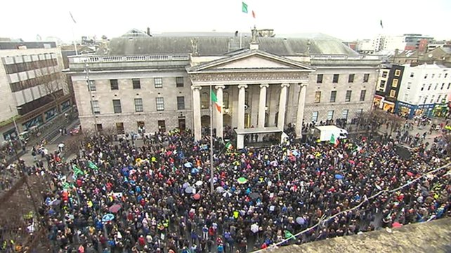 In Dublin, protesters marched to the GPO on O'Connell Street