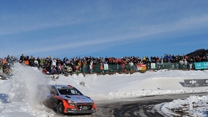 Spanish driver Dani Sordo steers his Hyundai I 20 during Saturday's third stage of the Monte Carlo Rally