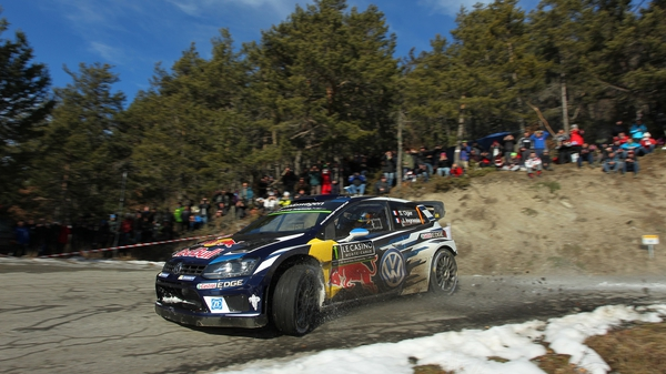 Oiger on his way to a fourth win in the Monte Carlo rally on Sunday
