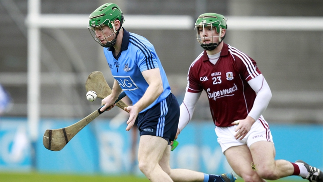 Johnny McCaffrey of Dublin under pressure from Shane Moloney from Galway in the Walsh Cup semi-final