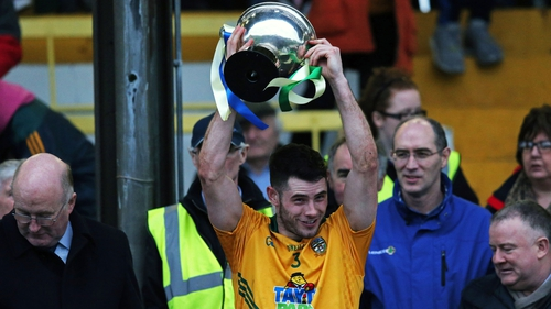 Meath's Donal Keogan lifts the O'Byrne Cup
