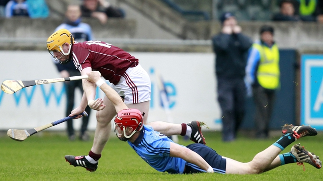 Dublin's David Treacy challenges Kevin Morrissey of Galway