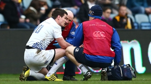 Leinster's Johnny Sexton gets treatment against Wasps