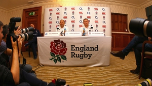 Dylan Hartley (R) and head coach Eddie Jones during today's press conference
