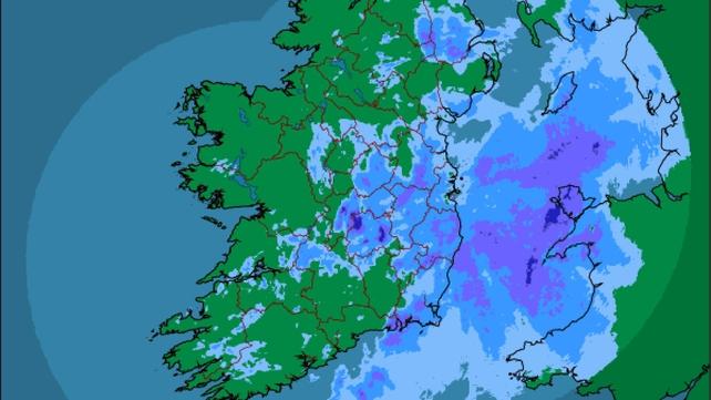 A rainfall radar issued by Met Éireann