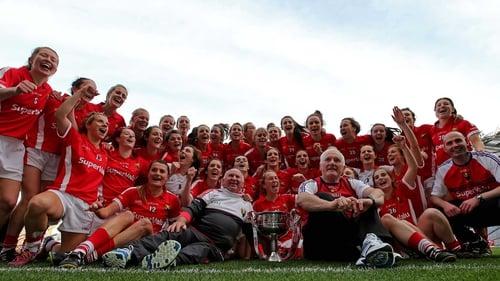 The Rebelettes celebrate their All-Ireland final win against Dublin last September