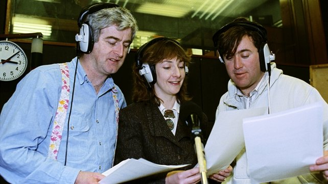 Dermot Morgan, Pauline McLynn and Gerry Stembridge recording 'Scrap Saturday' in 1990