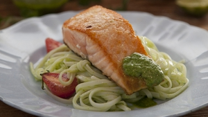 Kevin Dundon's pan seared fillet of salmon with coriander and chili pesto