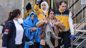 Rescued migrants arrive in Canakkale's Kucukkuyu district in Turkey