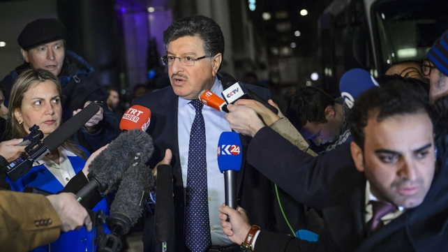 High Negotiations Committee (HNC) spokesman Salem al-Meslet speaks to the press upon his arrival in Geneva for Syrian peace talks