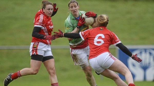Cora Staunton under pressure from the Cork defence