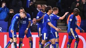 Leicester players celebrate Jamie Vardy's opener