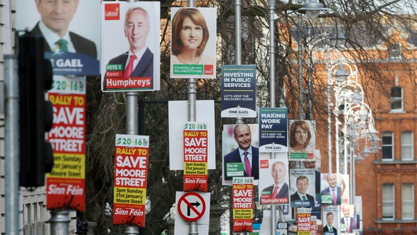 Election posters outside Government Buildings in Dublin
