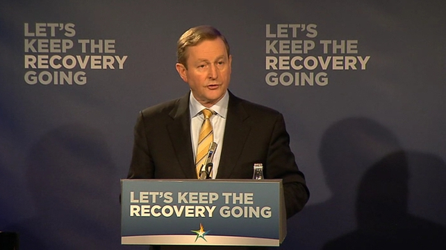 Enda Kenny said his party's plan was focused on keeping the recovery going