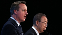 David Cameron and UN Secretary General Ban Ki-moon at the 'Supporting Syria Conference' in London
