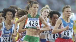 Sonia O'Sullivan contesting the 3,000m at the 1993 World Championship in Stuttgart