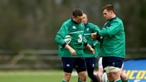 Joe Schmidt and Jamie Heaslip speak to the media at the pre-match Ireland press conference