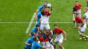 France's Paul Jedrasiak gathers a line-out