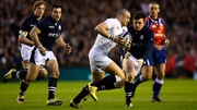 England full-back Mike Brown runs the ball out of defence
